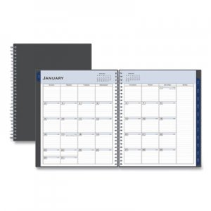 Blue Sky Passages Monthly Wirebound Planner, 10 x 8, Charcoal, 2020 BLS100011 100011