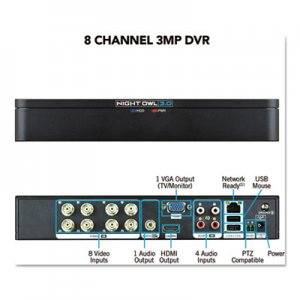 Night Owl 8 Channel Extreme HD 3MP DVR, 1080p Resolution NGTDVRX38 DVRX38