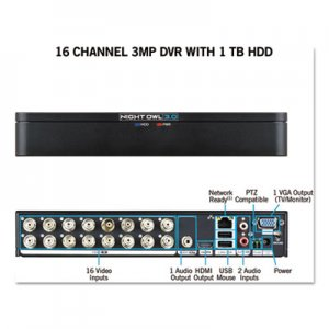 Night Owl 16 Channel Extreme HD 3MP DVR with 1 TB Hard Drive, 1080p Resolution NGTDVRX3161 DVRX3161