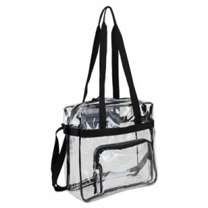 Eastsport Clear Stadium Approved Tote, 12 x 5 x 12, Black/Clear EST498000BJBLK 498000BJBLK