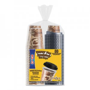 Dart Bistro Hot/Cold Foam Cups With Lids, 12 oz, Brown, 50/PK SCCFSX120029PK FSX12-0029