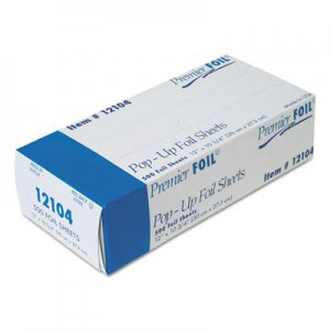 "Durable Packaging Premier Pop-Up Aluminum Foil Sheets, 12"" x 10 3/4"", 500/Box, 6 Boxes/Carton DPK12104 12104"