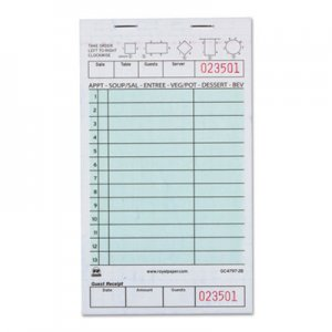 "Royal Guest Check Book, Two-Part Carbonless, 4 1/5"" x 7 3/4"", 1/Pages, 2000 Forms RPPGC47972B GC4797"