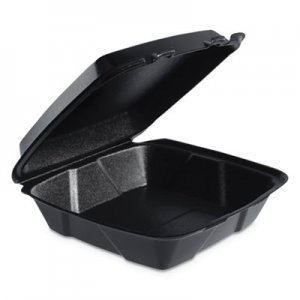 Dart Insulated Foam Hinged Lid Containers, 1-Compartment, 9 x 9.4 x 3, Black, 200/CT DCC90HTB1R 90HTB1R