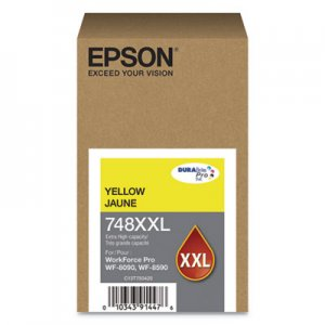 Epson T748XXL420 (748XXL) DURABrite Pro Extra High-Yield Ink, 7000 Page-Yield, Yellow EPST748XXL420 T748XXL420