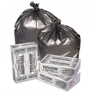 """Pitt Plastics Titanium Low-Density Can Liners, 60 gal, 1.7 mil, 39"""" x 57"""", Silver, 50/Carton PITTI3957S TI3957S"""