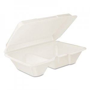 Dart Hinged Lid Carryout Container, White, 9 1/3 x 2 9/10 x 6 2/5, 100/BG, 2