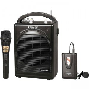 PylePro Rechargeable Portable PA System with Wireless Lavalier/Headset MIC and 1 Wired Mic PWMA200
