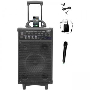 PylePro 800 Watt Dual Channel Wireless Rechageable Portable PA System With iPod/iPhone Dock, FM Radio /USB/SD, Handheld Microphone