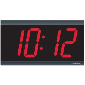 Pyramid TimeTrax Sync 4in x 4 Digit Red LED Wireless Digital Wall Clock 9D44BR