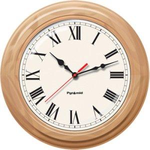 Pyramid TimeTrax Sync 16in Analog Clock - Oak Wood Roman Numeral Face S9A6AKGBXO
