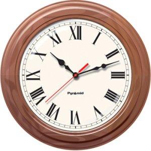 Pyramid TimeTrax Sync 16in Analog Clock - Walnut Wood Roman Numeral Face S9A6AKGBXW