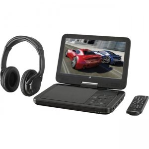 "GPX 10.1"" Bluetooth DVD Player with Wireless Headphones PDB1077B"