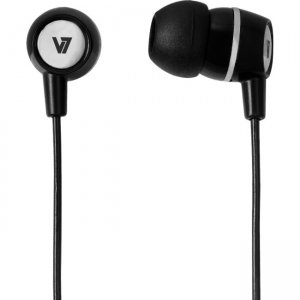 V7 3.5mm Noise Isolating Stereo Earbuds with Inline Mic HA110-BLK12NB3PK-KIT HA110-BLK-12NB