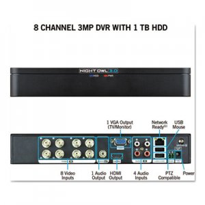 Night Owl 8 Channel Extreme HD 3MP DVR with 1 TB Hard Drive, 1080p Resolution NGTDVRX381 DVRX381