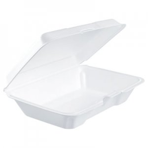Dart Foam Hinged Lid Containers, 6.4w x 9.3d x 2.6h, White, 200/Carton DCC206HT1R 206HT1R