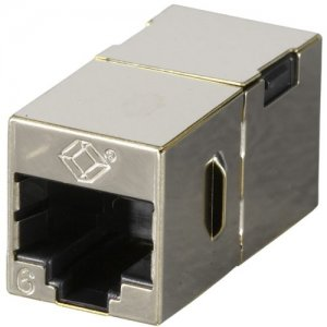 Black Box CAT6 Coupler - Shielded, Straight-Pin, Office Silver, 10-Pack FM608-10PAK