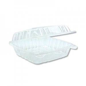 """Pactiv Hinged Lid Container, 8.34"""" x 8.24"""", Clear, 200/Carton PCTYCI821200000 YCI821200000"""
