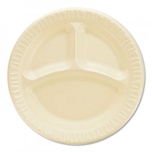 "Dart Quiet Classic Laminated Foam Dinnerware, Compartment Plate, 9"" Diameter, 500/CT DCC9CPHQR 9CPHQR"