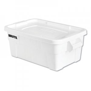 Rubbermaid Commercial BRUTE Tote with Lid, 14 gal, 17w x 28d x 11h, White RCP9S30WHIEA FG9S3000WHT