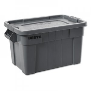 Rubbermaid Commercial BRUTE Tote with Lid, 14 gal, 27 1/2w x 16 3/4d x 10 3/4h, Gray