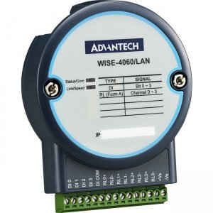 Advantech 4-ch Digital Input and 4-ch Relay Output IoT Ethernet I/O Module WISE-4060/LAN-AE WISE