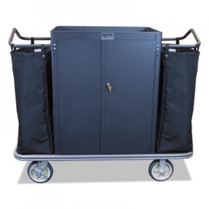 Royal Basket Trucks Security Housekeeping Cart, 22 x 55 x 47, 500 lbs. Capacity, Black RBTL55KKXM3C2LN L55-KKX-M3C-2LN