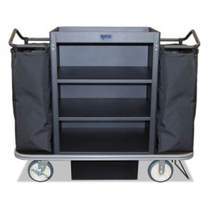 Royal Basket Trucks Deluxe Housekeeping Cart, 22 x 55 x 47, 500 lbs. Capacity, Black RBTL55KKXM3C2DN L55-KKX-M3C-2DN