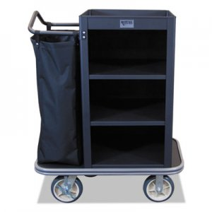 Royal Basket Trucks Compact Housekeeping Cart, 22 x 37 x 47, 500 lbs. Capacity, Black RBTL37KKXM3C1CN L37-KKX-M3C-1CN