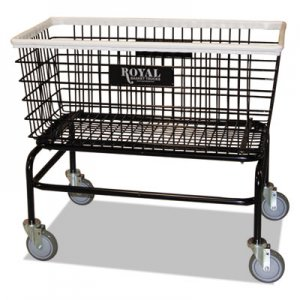 Royal Basket Trucks Large Wire Laundry Cart, 19 x 37 3/4 x 33 1/2, 300 lbs. Capacity, Black