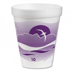 Dart Foam Drink Cups, 10 oz, White/Purple, 1000/Carton DCC10J10H 10J10H