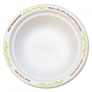 Chinet Molded Fiber Dinnerware, Bowl, 12 oz, White w/Vine Theme, 1000/Carton HUH22544 22544