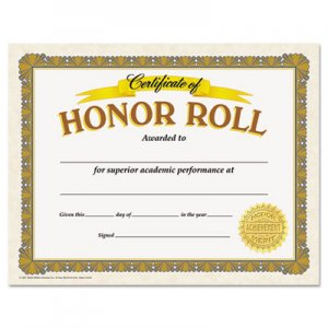 TREND Awards and Certificates, Honor Roll, 8 1/2 x 11, White/Brown/Gold TEPT11307 T11307