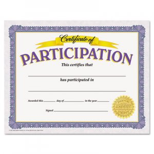 TREND Awards and Certificates, Participation, 8 1/2 x 11, White/Purple/Gold TEPT11303 T11303