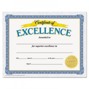 TREND Awards and Certificates, Excellence, 8 1/2 x 11, White/Blue/Gold TEPT11301 T11301