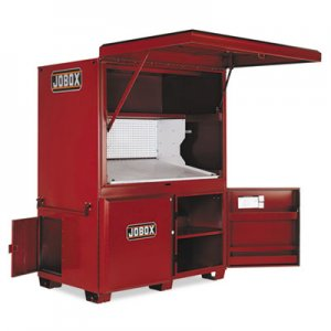 "JOBOX Heavy-Duty Field Office, 63"" x 42"" x 80"", Steel, Red JOB1674990 1-674990"