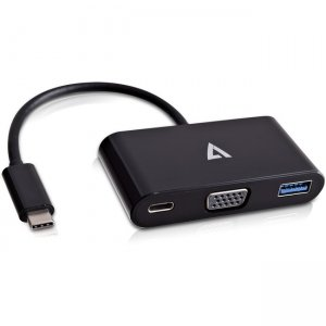 V7 USB-C male to VGA / USB3.0 / USB-C female Adapter Black V7UCVGA-HUB-BLK-1E