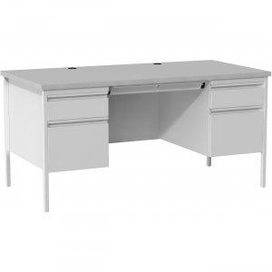 Lorell Grey Double Pedestal Steel/Laminate Desk 60935 LLR60935
