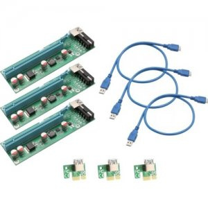 IO Crest PCI-E x1 to Powered x16 Riser Adapter Card USB 3.0 Extension Cable SI-PEX60017