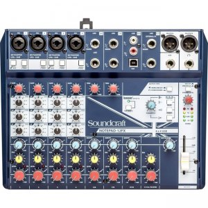 Soundcraft Small-Format Analog Mixing Console with USB I/O and Lexicon Effects 5085985US Notepad-12FX