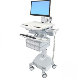 Ergotron StyleView Electric Lift Cart with Pivot, LiFe Powered, 6 Drawers (3x2) SV44-2362-1