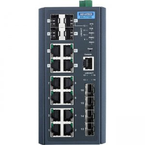 Advantech 8FE+4SFP+4G Combo port Managed Redundant Industrial Switch EKI-7716E-4F4CI-AE EKI-7716E-4F4CI