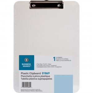Business Source Transparent Plastic Clipboard 01869 BSN01869