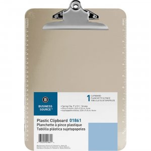 Business Source Spring Clip Plastic Clipboard 01861 BSN01861