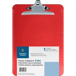 Business Source Spring Clip Plastic Clipboard 01864 BSN01864
