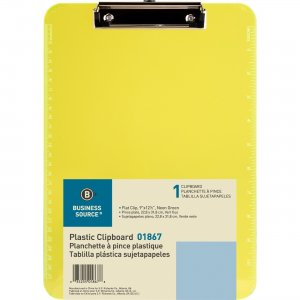 Business Source Flat Clip Plastic Clipboard 01867BD BSN01867BD