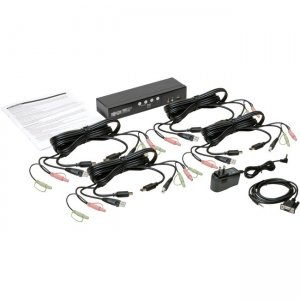 Tripp Lite 4-Port HDMI/USB KVM Switch with Audio/Video and USB Peripheral Sharing B004-HUA4-K