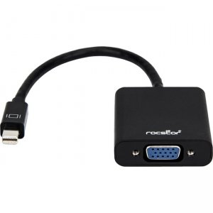 Rocstor 5.9 Inch Mini Displayport to VGA Adapter for Mac / PC Y10A104-B1 Y10A104-W1