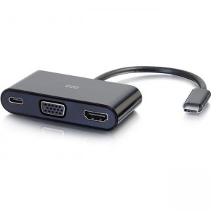 C2G USB C to HDMI and VGA Adapter Converter with Power Delivery - Black 26884