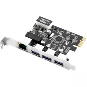 SIIG USB 3.0 3-Port Hub with LAN PCIe Host Card LB-US0614-S1